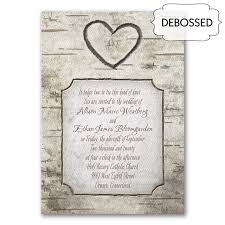 Carved Heart Wood Grain Wedding Invitations