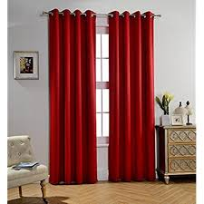 MYSKY HOME Solid Grommet Top Thermal Insulated Window Blackout Curtains For Dining Room 52 X 84 Inch Red 1 Panel