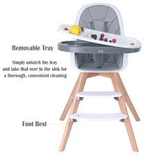 Baby High Chair, Wooden High Chair With Removable Tray And Adjustable Legs