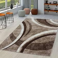 teppich wohnzimmer gestreift modern mit konturenschnitt in braun beige creme größe 160x230 cm