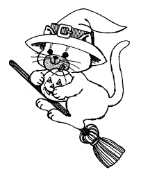 Cat In A Witch Hat Coloring Pages Halloween