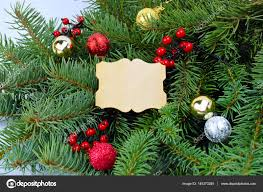 Branches Of A Christmas Tree And Festive Decorations Wooden Handmade Card For Wishes Close Up Rustic Style Photo By Fosonya