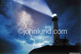 Lighthouse With A Lightning Strike In Violent Thunderstorm
