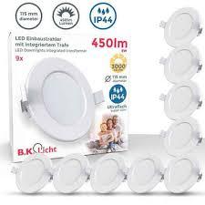 b k licht led einbaustrahler bkl1274 9er set led bad einbauleuchten ultra flach 30mm ø115mm weiß 9 x 6w led platinen 9 x 450 lumen 3 000k warmweiß