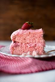 Sweet strawberry cake topped with strawberry frosting made with fresh strawberries No artificial flavors 1834