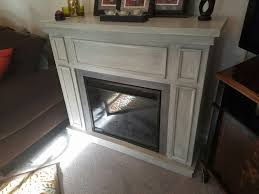 Refinished Electric Fireplace White Base With Light Gray Stained A Cheaper Version Of