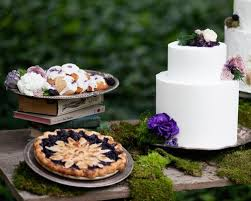 Outdoor Wedding Reception Dessert Table With Teacakes Berry Pie And White Cake