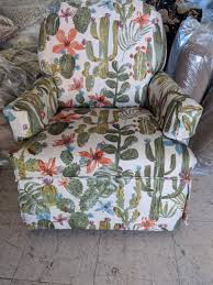 Cactus Print Upholstered Swivel Rocker Chair - Fabrics That Go