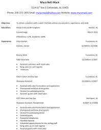 Sample Hair Stylist Resume Example Objective Experience Job Description