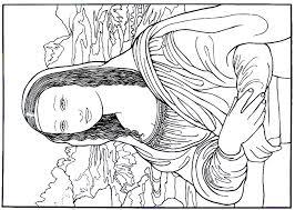 The Mona Lisa Painting By Leonardo Da Vinci Renaissance Printable Coloring Book Page