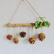 Rustic Pine Cone Accessories Dried Branch Plastic Cane Xmas Tree Decorations Wedding Party Hanging Home Wall