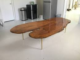large organic koa wood slab coffee table at 1stdibs