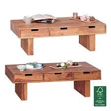 finebuy couchtisch massivholz akazie design wohnzimmer tisch 110 x 60 cm mit 6 schubladen landhaus stil holztisch