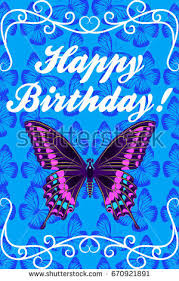 Happy birthday card with beautiful purple butterfly Vector illustration on blue background