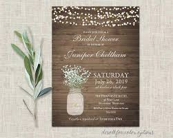 Mason Jar Bridal Shower Invitations Rustic Wedding