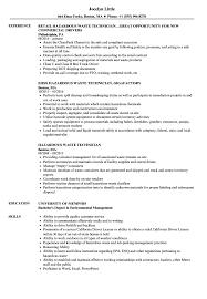Download Hazardous Waste Technician Resume Sample As Image File