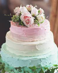 Pastel Colored Wedding Cake Using Textured Buttercream Frosting