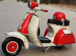 White Red Tinplate Medium Scale Vintage Vespa Scooter Model