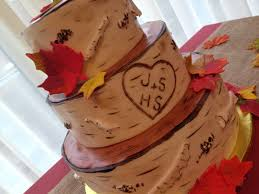 Birch Tree Rustic Fall Leaves Wedding Cake