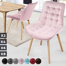 miadomodo esszimmerstühle rosa 2er set sitzfläche aus samt gepolstert gesteppt beine aus buchenholz mit rückenlehne polsterstuhl vintage