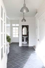 12x24 Tiles Cut Down To 6x12 Slate Herringbone Floors And Shiplap Walls