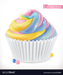 Cupcake Fairy Cake 3d Realistic Icon Vector Image