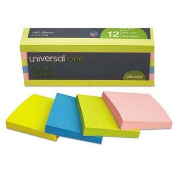 "Universal One Self Stick Notes - 3"" x 3"", 100 Sheet, 12pk"