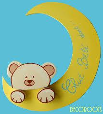 plaque de porte chambre bébé plaque de porte bébé ours et la lune décoration chambre enfant