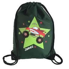 100 Monster Truck Backpack Kids Swimming School PE Bag