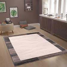 teppich abstrakt muster in grau braun mit umrandung vimoda homestyle