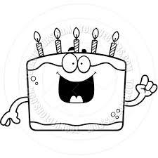 Cartoon Birthday Cake Idea Black and White Line Art