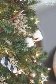 Beautiful Rustic Christmas Tree With Cotton Bolls German Statice Jingle Bell Garland Plaid