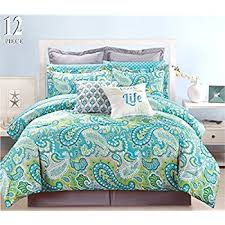 Amazon 12 Piece Modern Bedding Turquoise Blue Grey and Green