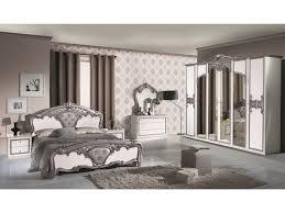 schlichter schlafzimmer set eraclea 6 teilig weiß silber 6 türig bett 160x200 cm 2x nachttisch kommode spiegel