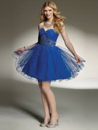 sweetheart classy a line dark royal blue satin and tulle special