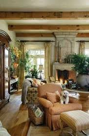 French Country Living Room Ceiling Beams Raw Wood Rustic Old World Strong Colorspaint Color For