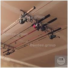 fishing pole rod storage rack ceiling mount wall roof garage
