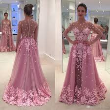 pink long sleeve prom dresses with detachable train lace