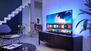 riesiger 65 zoll 4k oled tv reduziert ambilight fernseher