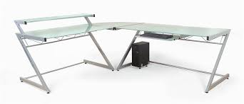 Glass And Metal Corner Computer Desk White by Contemporary L Shaped 3 Pc Corner Desk W Glass Tops Z Deluxe