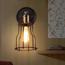 surprising edison bulb wall sconce industrial cage wall sconce