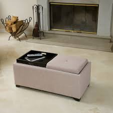 Ernest Beige Fabric Tray Ottoman Contemporary Living Room