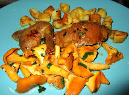 cuisiner les girolles pigeon au four et girolles