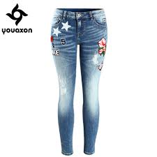 popular patched jeans women buy cheap patched jeans women lots