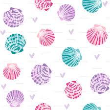 100 Sea Shell Design Seashells Fabric Girls Mermaid Sea Shell Design Pink Turquoise