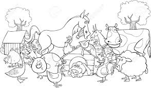Cartoon Illustration Of Farm Animals Group For Coloring Book Stock Vector