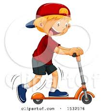 Boy Riding A Scooter By Graphics RF