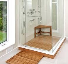 Wood Shower Floor Teak Ideas With Glass Door Home Interior Exterior