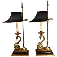 Brass Candlestick Buffet Lamps by Pair Of Chapman Empire Style Swan Lamps At 1stdibs