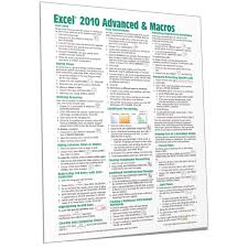 Excel 2010 Advanced Quick Reference Card Cheat Sheet Beezix